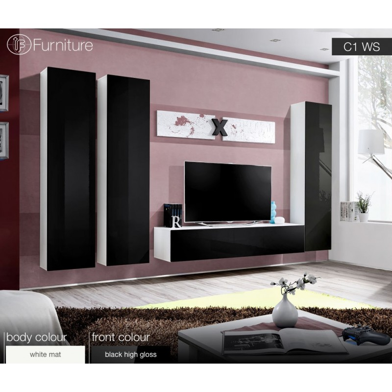 Modern Wall Unit Dispaly Living Room Unit High Gloss Furniture AIR