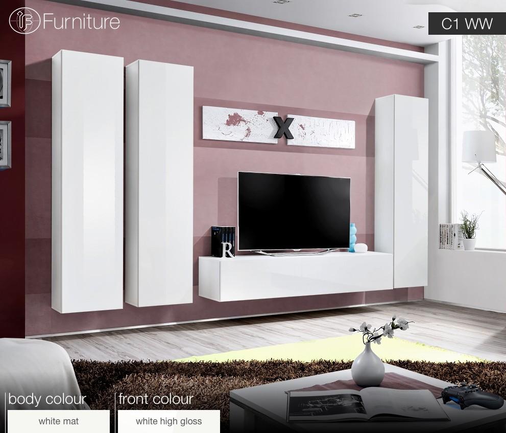 Funky White Gloss Wall Units Living Room Photo - Living Room Design ...