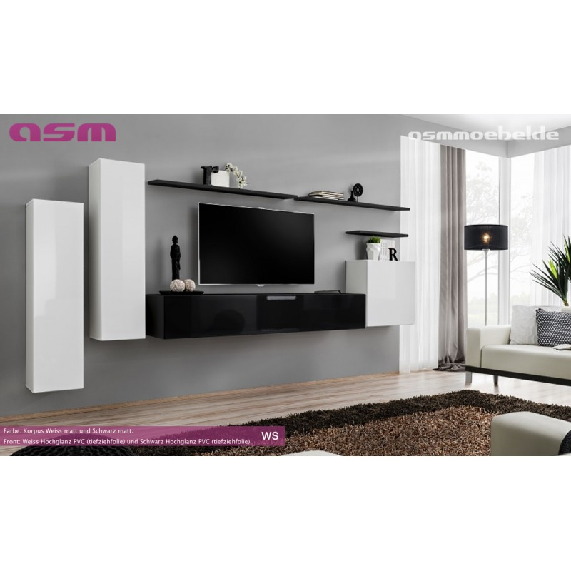 Modern Wall TV Display Living Room Unit High Gloss ...