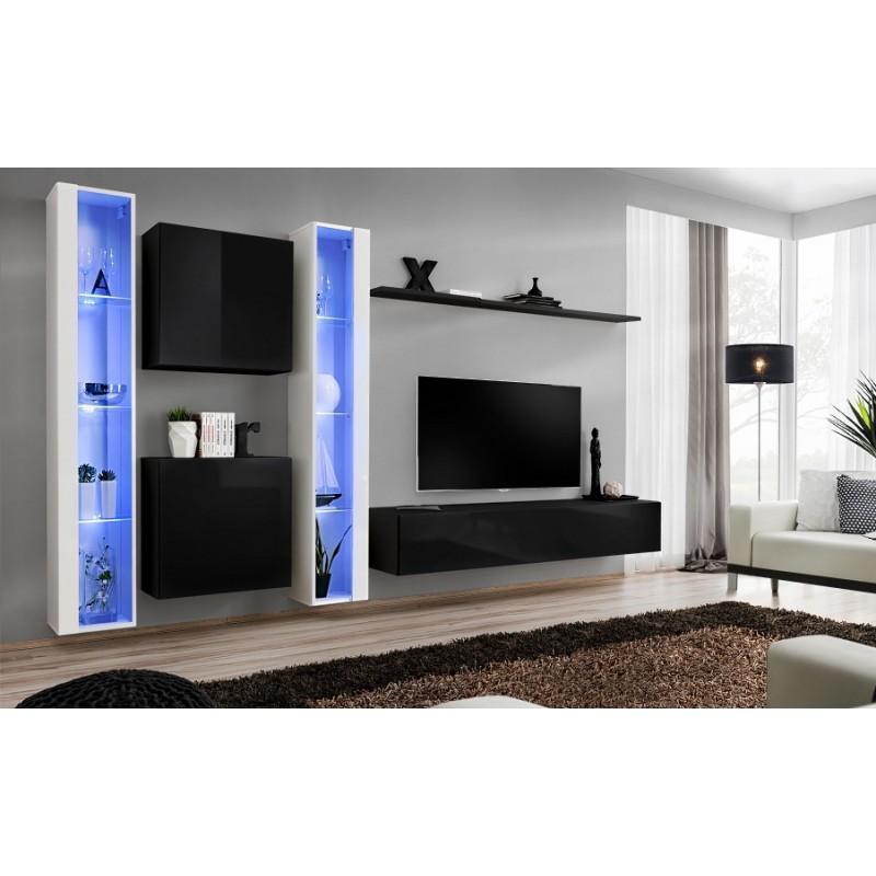 Modern Wall Tv Display Living Room Unit High Gloss Furniture Switch