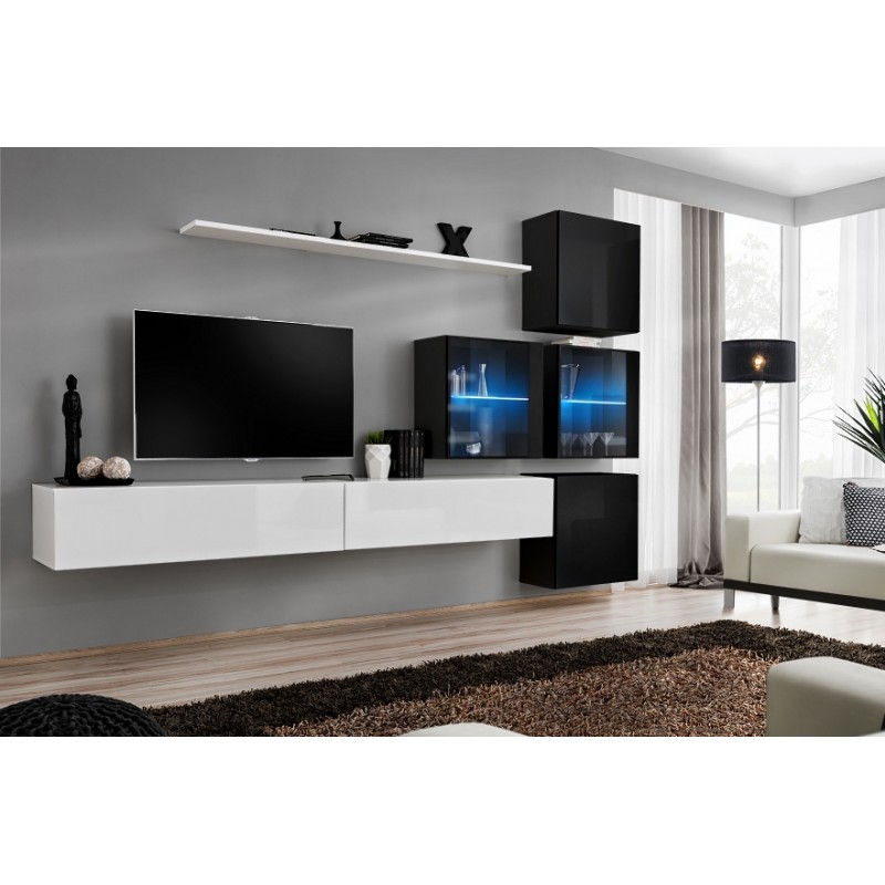 Modern wall tv display living room unit high gloss for Meuble karray