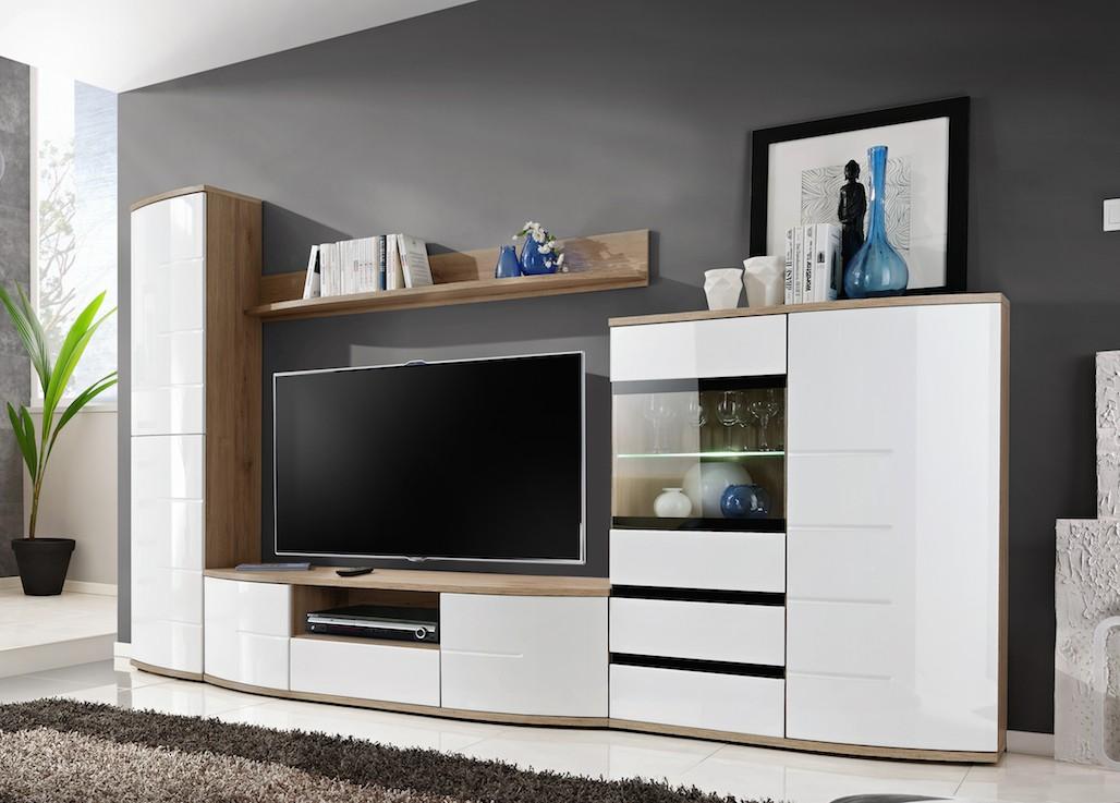 Modern Wall Unit Display Living Room High Gloss Furniture ONTARIO Free PP