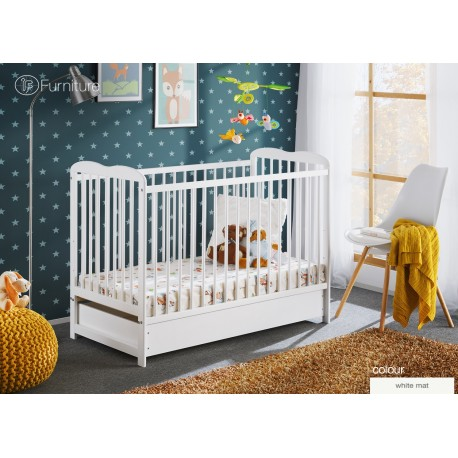 White Classic Pine Wood Baby Cot Ala II with 4 inch Foam Mattress 120 cm x 60 cm