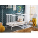White Classic Pine Wood Baby Cot Cypi II with 4 inch Foam Mattress 120 cm x 60 cm