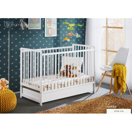 "White Classic Pine Wood Baby Cot Cypi II with 4"" Foam Mattress and Drawer 120 x 60"