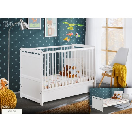 """White Pine Wood Baby Cot Junior Toddler Bed Timmy with 4"""" Foam Mattress and Drawer 120 x 60"""