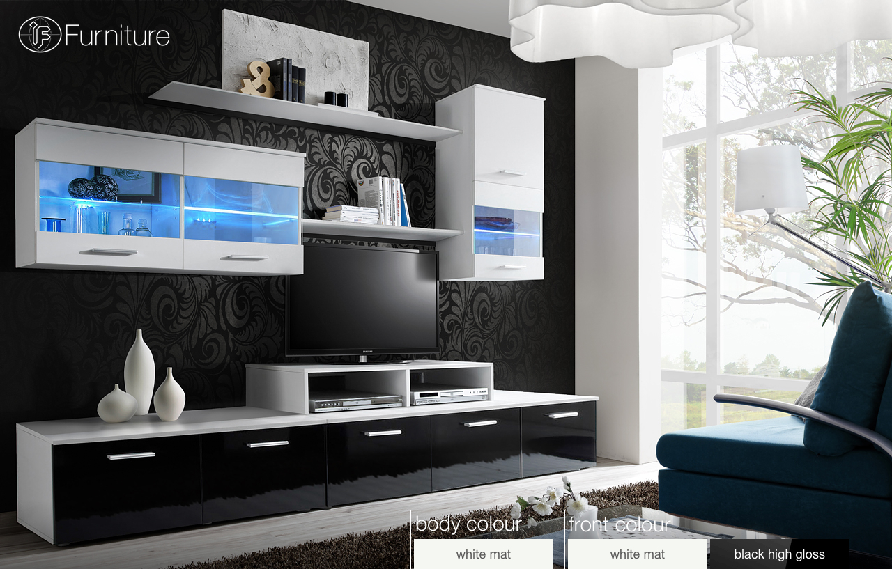 modern wall unit tv display living room high gloss furniture logo