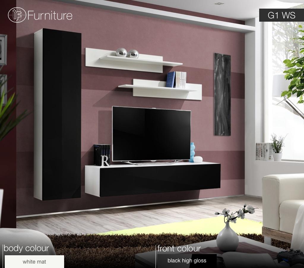 Modern Wall Unit Tv Display Living Room Unit High Gloss Furniture Fly G Free P P Ebay