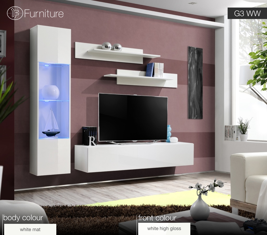 Modern Wall Unit TV Display Living Room Unit High Gloss Furniture FLY G  Free Pu0026P   EBay Part 68