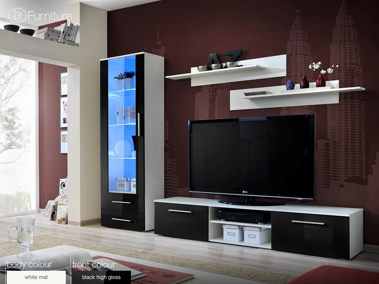 Modern Wall Unit Display Living Room Unit High Gloss Furniture Galino A Free P P